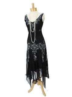 Black Beaded Silk Chiffon Handkerchief Hem 20s Style Gatsby Era Dress - Flapper style - 1920's dresses $120