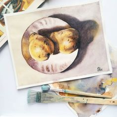Pears in the morning light, watercolor