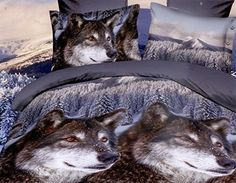 Cheap bedsheet set, Buy Quality bedsheet material directly from China bedsheet sizes Suppliers: Snow Wolf bedding sets queen size doona duvet cover+flat bedsheet+pillowcases bedcover set 3d Bedding Sets, Queen Bedding Sets, Duvet Bedding, Comforter Sets, Gothic Bed, Bed Linen Sets, Bed Sets, Stylish Beds, Beautiful Wolves