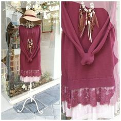 Burgundy lace sweater outfit by Cuca Boutique
