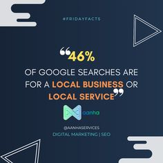 46% of Google searches are for a local business or local service! . . . #fridayfacts #fridaythoughts #fridayfeels #aanhaservices #aanha #digitalmarketing #googlesearch #localbusines #localservice #seo #didyouknow #google #googlestats #aanhadm Seo Marketing, Digital Marketing, Friday Facts, Did You Know, Thoughts, Feelings, Google Search, Business, Store
