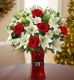 Beautiful Holiday Flower arrangement (Santa Claus inspired)