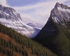 This limited edition print is reproduced from an original oil painting portraying Going to the Sun in Glacier National Park. Found just the right piece? Then check our reasonable shipping rates and or