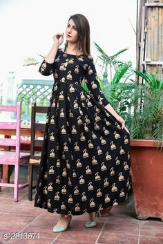 Gowns Partywear Rayon Printed Women's Gown Fabric: Rayon Sleeves: Sleeves Are Included  Size:  M - 38 in L - 40 in XL - 42 in XXL - 44 in  Length: Up To 53 in Type: Stitched Description: It Has 1 Piece Of Women's Gown  Work: Printed Country of Origin: India Sizes Available: M, L, XL, XXL, XXXL   Catalog Rating: ★4.3 (425)  Catalog Name: Pihu Partywear Rayon Printed Women's Gowns Vol 5 CatalogID_381961 C79-SC1289 Code: 415-2813674-
