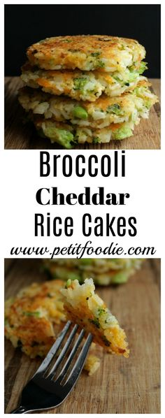 A fast and easy weeknight dinner idea Broccoli Cheddar Rice Cakes www.petitfoodie.com
