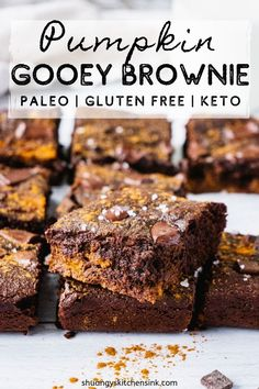 This Gooey healthy Pumpkin Brownie is the best fall dessert recipe. Made with almond four, this easy pumpkin brownie recipe is Paleo, Keto. Fall Dessert Recipes, Paleo Dessert, Fall Desserts, Healthy Pumpkin Desserts, Paleo Sweets, Dairy Free Recipes, Real Food Recipes, Paleo Recipes, Clean Recipes