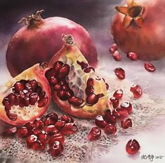 Watercolor Fruit, Fruit Painting, Watercolour Painting, Watercolor Flowers, Hyper Realistic Paintings, Small Art, Botanical Art, Beautiful Artwork, Art World