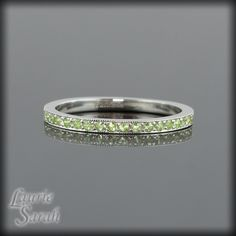 Genuine Peridot Half Eternity Band in Sterling Silver - Mother's Ring, Wedding Band or Stacking Band - LS1371. $146.73, via Etsy.
