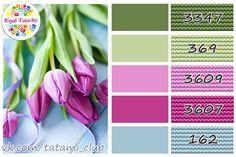 ЦВЕТОВЫЕ ПАЛИТРЫ для рукодельниц – 35 photos | VK Yarn Color Combinations, Colour Schemes, Cross Stitch Floss, Colour Pallette, Creative Colour, Color Balance, Dmc Floss, Colour Board, Copics