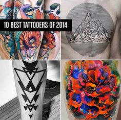 10 Best Tattoo Artists of 2014: http://illusion.scene360.com/art/66176/best-tattoos-2014/ #tattoos  (Counterclockwise: Images © Cody Eich, Chaim Machlev, Ondrash, and Ben Volt.)