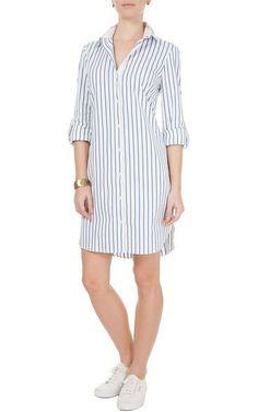 Vestido chemise Le Lis Blanc - off white e azul - #azul #Blanc #chemise #Le #Lis #Vestido #white I Dress, Dress Outfits, Casual Dresses, Casual Outfits, Shirt Dress, Kurta Designs, Fashion Wear, Fashion Dresses, Womens Fashion