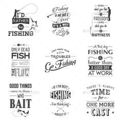 Set of Vintage Fishing Typographic Quotes Vector EPS, PSD