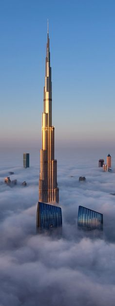 Burj Khalifa, Dubai, UAE (sbove the clouds and this is the SECOND tallest building in the world!)