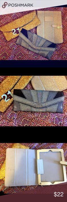 Glitter is my favorite color lot! Clutches IPAD Two clutches and an iPad cover. IPAD cover by Abercrombie & Fitch. Silver clutch NWT forever 21. Gold clutch is unbranded. All good condition. Interior of IPAD cover shows wear. Forever 21 Bags Clutches & Wristlets