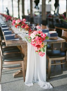 A favourite styling tip of ours is to have table runners as a part of your table setting. Show off a gorgeous timber table at your rustic theme wedding.  Not only does a table runner look beautiful, but it also helps you manage your table layout: decor, candles, and flowers can be styled on the runner, while the exposed table is kept free for plates, cutlery, and napkins. You can find table runners and linen for hire in Melbourne at Table art, along with other wedding table decorations. Wedding Reception Seating, Wedding Table Linens, Wedding Table Centerpieces, Wedding Chairs, Flower Centerpieces, Rustic Wedding, Wedding Decorations, Wedding Ideas, Wedding Poses
