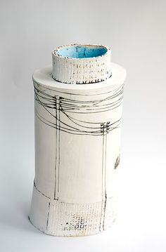 Ceramic Bottle slips and stains screen print and drawing by Fred Croft
