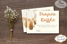 INSTANT DOWNLOAD  Diaper Raffle Tickets Diaper Raffle Card Diaper Raffle Game Dream Catcher Diaper Raffle. Find more coordinating printables at JanePaperie: https://www.etsy.com/shop/JanePaperie
