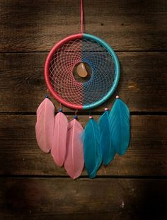 Pink dream catcher/ blue dreamcatcher medium by MyFantasticDreams