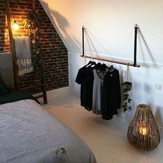 Clothes rack / Coat rack on leather straps # home accessories leather clothes rack . Clothes rack / coat rack on leather straps # home accessories leather clothes rack Attic Bedrooms, Closet Bedroom, My New Room, My Room, Room Inspiration, Interior Inspiration, Loft Room, Home Accessories, New Homes