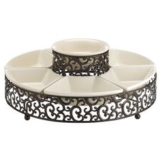 This 7 piece chip 'n dip is a must have for any gathering. The set features 6 serving dishes for veggies, chips, or cheese and a centered dip bowl. These easy care bowls sit in a beautiful scrolled rack. Use outdoor or in. Chip And Dip Sets, Chip And Dip Bowl, Dip Tray, Pressed Metal, Metal Bowl, My New Room, Serving Dishes, Serving Plates, Chips