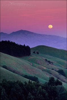 Full moon rising at sunset over Mt. Diablo from the Orinda Hills, Contra Costa County, California