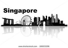 Singapore skyline black and white
