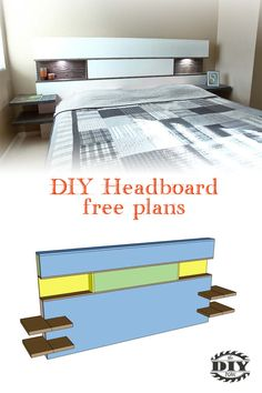 Woodworking Desk Ana White DIY Modern Headboard with lights. Check out our website for instructions and plans how to make bed backboard. Diy King Size Headboard, Modern Headboard, Headboards For Beds, Diy Headboard With Lights, Headboard With Shelves, Headboard Ideas, Woodworking Joints, Woodworking Furniture, Woodworking Plans