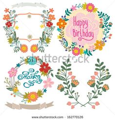 Wedding graphic set with floral wreaths. by MarushaBelle, via Shutterstock