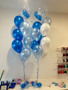 """A little twist putting small 5"""" balloons into a Qualatex Clear deco bubble and teamed with helium balloons in the same shade. We loved the look!"""
