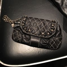 Quilted Wristlet Black leather silver chain Juicy Couture Bags Clutches & Wristlets