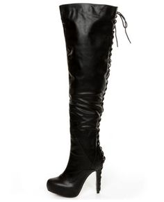 C Label Peyton 8A Black Back-Laced High Heel OTK Boots at @Lulus .com
