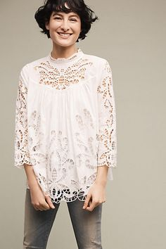Laced High-Neck Blouse #anthropologie