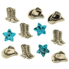 Cowboy Buttons - Silver Hats & Boots