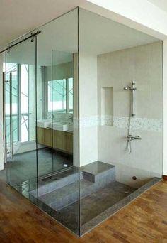 sunken bathtub ---- 25 Glass Shower Design Ideas and Bathroom Remodeling Inspirations Bathtub Remodel, Shower Remodel, Modern Bathroom, Small Bathroom, Bathroom Ideas, 1950s Bathroom, Bathroom Tubs, Glass Bathroom, Chic Bathrooms