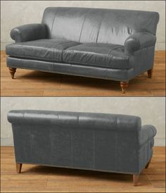 Now with timeless traces together with inspiring ideas of contemporary style and design, this unique luxurious pewter gray loveseat features a lucrative recline and a deep, lavish seat. This perfect for your living room. Features leather upholstery, removable spring down cushions, spring suspension seat construction for comfort and durability, Kiln-dried oak wood frame, three removable castor legs. Handcrafted in the USA.