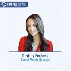 A previous seasoned and experienced professional in many industries; Destiny developed an inclination for social media and the impact it has on a business's growth.  Her use of multiple languages and a business mindset created a special duo that brings added value to any client.  Since then she has shifted her focus solely to the social media management at Chappell Capital. Her multi-faceted toolbox of skills brings a new twist to the new age of social media marketing.  @destiny2665