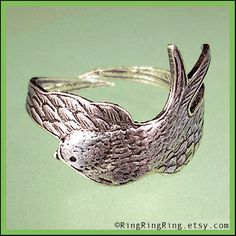 Bird Wing ring adjustable feather ring antiqued