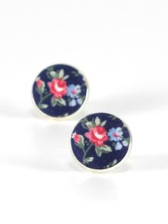 Flower Stud Earrings - Roses On Blue Earrings - Floral Studs - Red Blue Green - Romantic Fabric Buttons Jewelry - Antique Posts (10.00 USD) by PatchworkMillJewelry