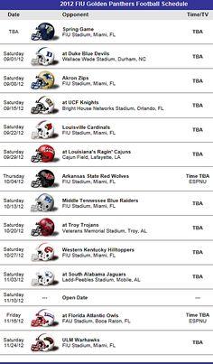 FIU - Florida International Golden Panthers Football Team 2012 Schedule