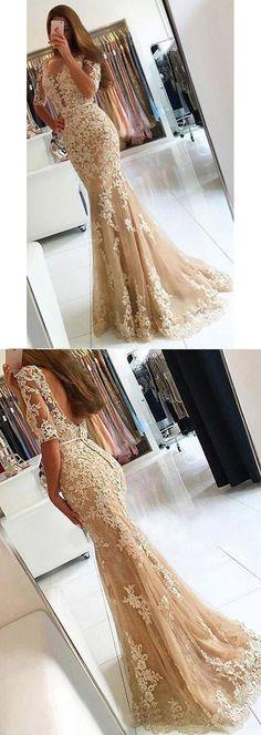 Chic Prom Dresses Appliques Scoop Floor-length Backless Prom Dress/Evening Dress JKL204