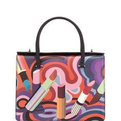 Prada Lipstick-Print Saffiano Tote Bag