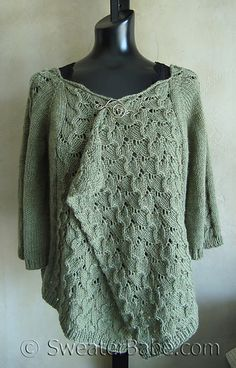 Ravelry: #102 Drape-Front Top-Down Lacy Cardigan pattern by SweaterBabe