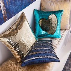 Gold & Teal Sequined Mermaid Pillow Cheap Throw Pillows, Decorative Throw Pillows, Mermaid Pillow, Pillow Texture, Pillow Sale, Geometric Designs, Teal, Color, Bedroom Ideas