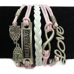 Pink & White Owls/Best Friend/Infinity/Love Layered Cord Bracelet