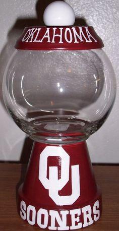 OU Oklahoma Sooners Candy Jar Handmade Hand painted