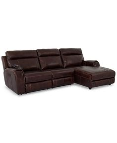 Braddy 3-Piece Leather Chaise Sofa with 2 Power Motion Recliners | macys.com