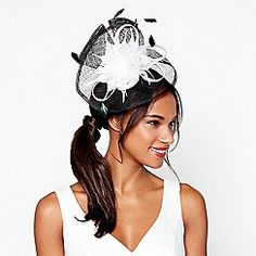 Debut - Black pointed feather swoop fascinator