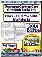 Fill in the Blank Worksheets for Journeys 5th Grade 2014 - Full Year