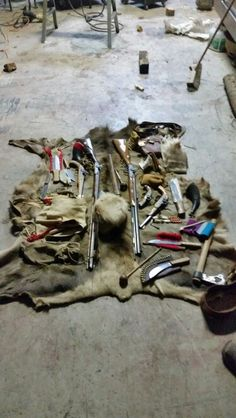 Previous pinner said: My brother's and my accouterments on my elk robe Mountain Man Rendezvous, Flintlock Rifle, Black Powder Guns, Native American History, American Indians, Man Gear, Longhunter, Bushcraft Gear, Powder Horn