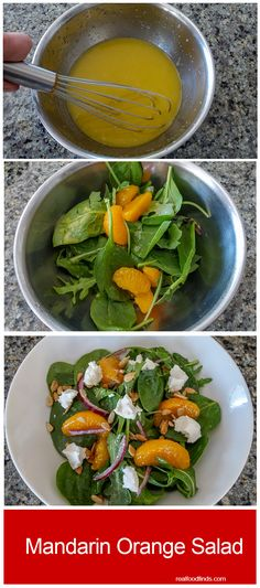 Mandarin Orange Salad. I really enjoyed this salad. It is very light and refreshing. I love the unique combination of the sweetness of the fruit and vinaigrette, the spicy sharpness of the onion, the creaminess of the goat cheese, and the crunch of the sunflower seeds.